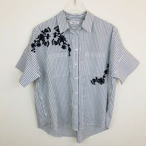 Madewell Embroidered Courier Side Button Shirt